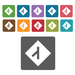 Junction sign icon symbol set. Traffic signs set. Rectangle colo