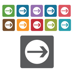 Right arrow sign icon symbol set. Traffic signs set. Rectangle c