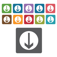 Arrow down sign icon symbol set. Traffic signs set. Rectangle co