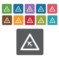 Airport sign icon symbol set. Traffic signs set. Rectangle colou