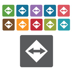 Two way sign icon symbol set. Traffic signs set. Rectangle colou