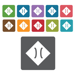 Road sign icon symbol set. Traffic signs set. Rectangle colourfu