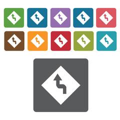 Zigzag road sign icon symbol set. Traffic signs set. Rectangle c