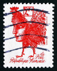 Postage stamp France 1992 Marianne with Body of Rooster
