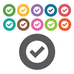 Check sign icon symbol set. Video interface set. Round colourful