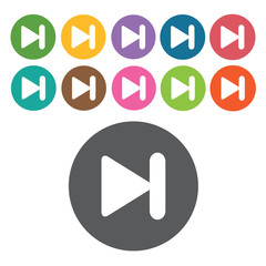 Next file button sign icon symbol set. Video interface set. Roun