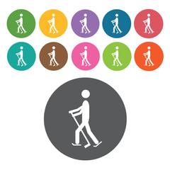 Walking skiing sign icon symbol set. Winter sport set. Round col