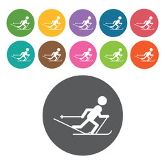 Walking skiing sign icon symbol set. Winter sport set. Round col