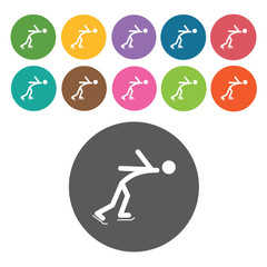 Free style figure skating sign icon symbol set. Winter sport set