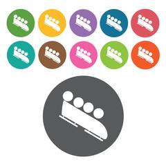 Ski shoes sign icon symbol set. Winter sport set. Round colourfu