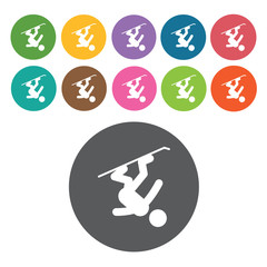Snowboarding sign icon symbol set. Winter sport set. Round colou