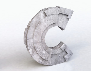 Stone Letter C in 3D