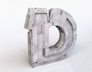 Stone Letter D in 3D