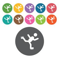 Ice skate sign icon symbol set. Winter sport set. Round colourfu