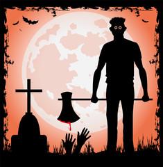 uomo con ascia la notte di halloween