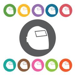 Welder helmet sign icon symbol set. Working tool set. Round colo