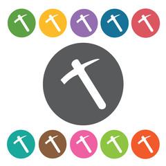 Pick axe sign icon symbol set. Working tool set. Round colourful