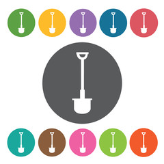 Cement shovel sign icon symbol set. Working tool set. Round colo
