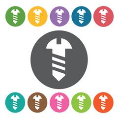 Screw sign icon symbol set. Working tool set. Round colourful 12