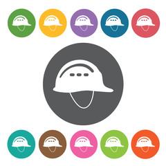 Hard hat sign icon symbol set. Working tool set. Round colourful