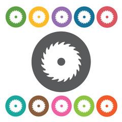 Saw blade sign icon symbol set. Working tool set. Round colourfu