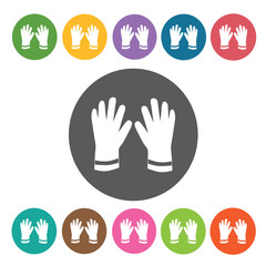 Workers glove sign icon symbol set. Working tool set. Round colo