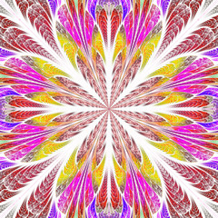 Symmetrical pattern in stained-glass window style. Red, yellow a