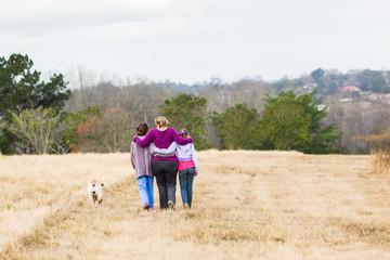 Girls Family Walking Outdoors Landscape