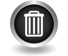 Trash can black button. Vector illustration eps10