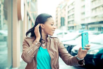 beautiful african young woman selfie