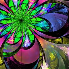 Flower background. Blue, purple and green palette. Fractal desig