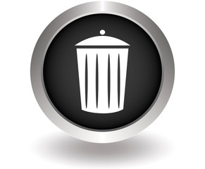 Trash can . Black Button for website. Vector illustration eps10