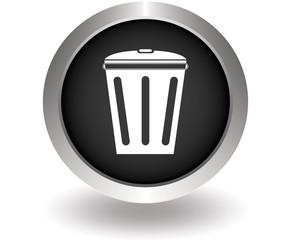 Trash bin. Black Button for website. Vector illustration eps10