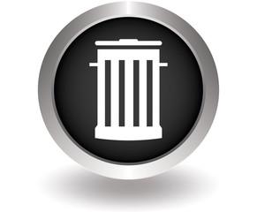 Trash bin Flat modern. Black Button for website. Vector illustra