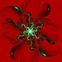 Beautiful contour flower on claret background. Computer generate