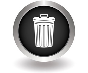 Bin or trash can with garbage. Black Button for website. Vector
