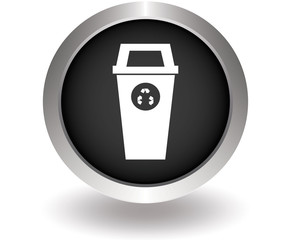 Recycle bin glossy. Black Button for website. Vector illustratio