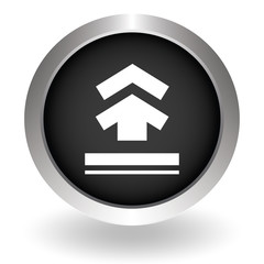 Upload button. Flat style. Black Button sign symbol for website.