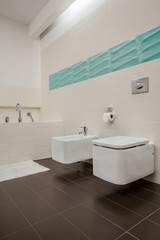 Bright bathroom with toilet and bidet