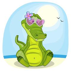 Crocodile on the beach