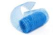 Plastic blue grid for plaster isolated on white