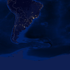 Earth - Night & Borders - B2 (South America)