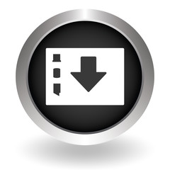 Folder download icon. Black Button sign symbol for website. Vect