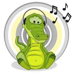 Crocodile with headphones