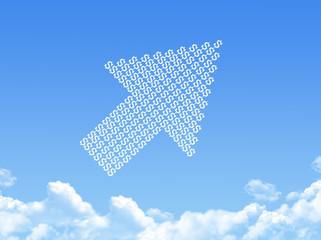 growth progress arrow graph cloud shape