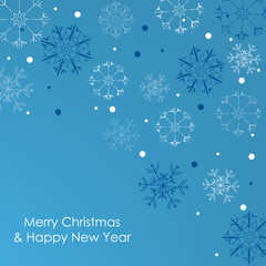 Christmas card with snowflakes on a blue background