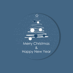 Christmas label on a blue background with tree and decoration