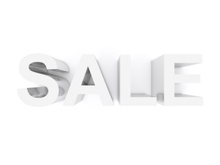 3D sale tag - metal letters on white background