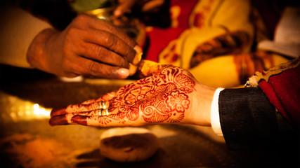 Decorative hand of Indian groom