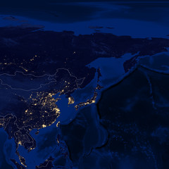 Earth - Night & Borders - D1 (East Asia)